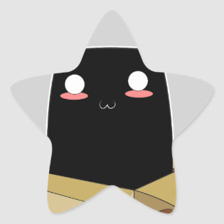 Adesivo Estrela Gato preto em uma caixa