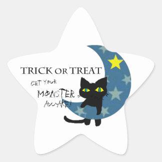 Adesivo Estrela Gato preto Hunging a lua azul