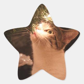 Adesivo Estrela Gatos e luzes - gato do Natal - árvore de Natal