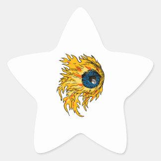 Adesivo Estrela Globo ocular flamejante no desenho do fogo