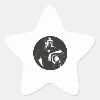 Adesivo Estrela Grupo de filme que ilumina o círculo Woodcu do