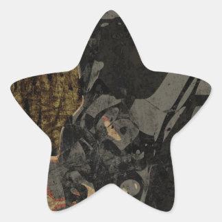 Adesivo Estrela Homem com máscara protetora na placa de metal