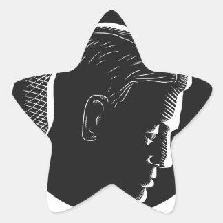 Adesivo Estrela Homem pensativo no Woodcut profundo do círculo do