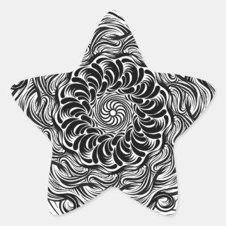 Adesivo Estrela Ilusão óptica do Doodle ornamentado do zen preto e