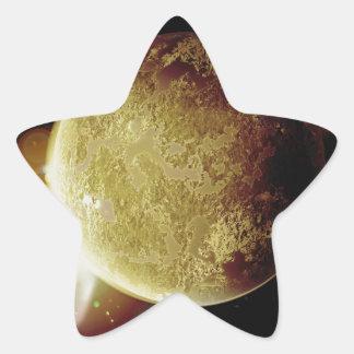 Adesivo Estrela ilustração amarela do planeta 3d no universo