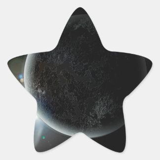 Adesivo Estrela ilustração preta do planeta 3d no universo