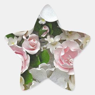 Adesivo Estrela Impressão floral do rosa e o branco