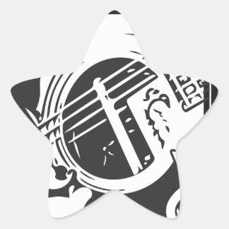 Adesivo Estrela Jogo da guitarra do melómano preto e branco