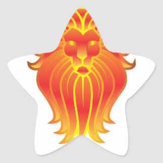 Adesivo Estrela Leão customizável do zodíaco de Leo do fogo