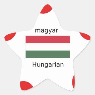 Adesivo Estrela Língua de Hungria e design da bandeira