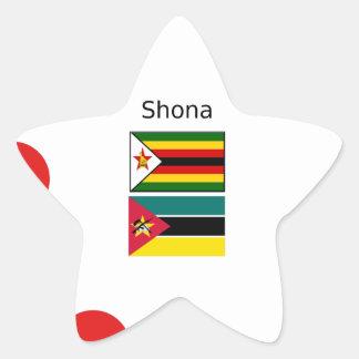 Adesivo Estrela Língua de Shona e bandeiras de Zimbabwe e de