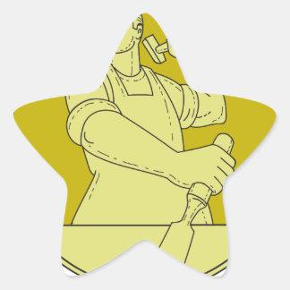 Adesivo Estrela Linha do círculo do formão do escultor do