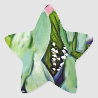 Adesivo Estrela Lírio das flores do vale escondidas nas folhas