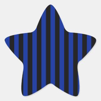 Adesivo Estrela Listras finas - pretas e azul imperial