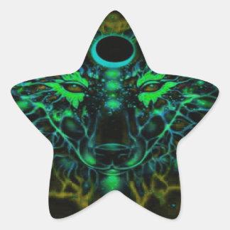 Adesivo Estrela Lobo amarelo de néon Mythical