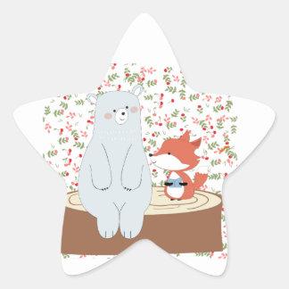 Adesivo Estrela Lobo bonito da raposa do verão do primavera do
