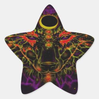 Adesivo Estrela Lobo roxo de néon Mythical