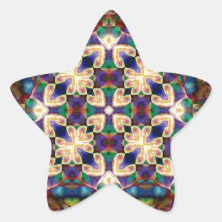 Adesivo Estrela Mandala celta do vitral do coração do arco-íris
