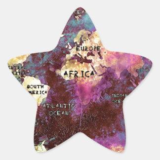 Adesivo Estrela mapa do mundo