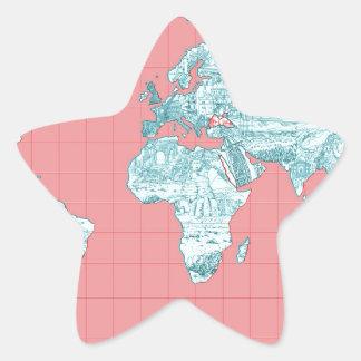 Adesivo Estrela mapa do mundo 7