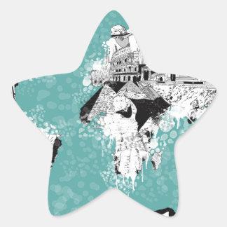 Adesivo Estrela mapa do mundo 9