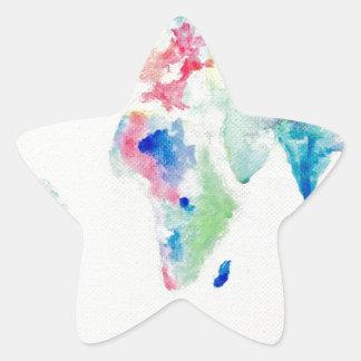 Adesivo Estrela mapa do mundo da cor de água