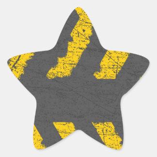Adesivo Estrela Marcação de estrada amarela afligida Grunge