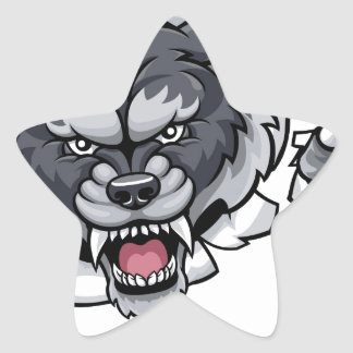 Adesivo Estrela Mascote do futebol americano do lobo que quebra o