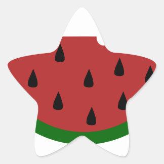 Adesivo Estrela melancia mordida fruta da fatia da comida