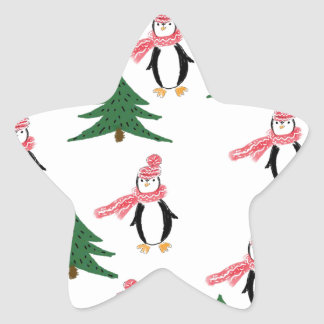 Adesivo Estrela Muffin do pinguim do Natal