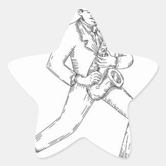 Adesivo Estrela Músico de jazz que joga o saxofone Monoline
