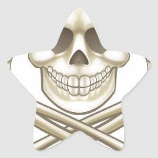 Adesivo Estrela O crânio dos desenhos animados e o pirata dos
