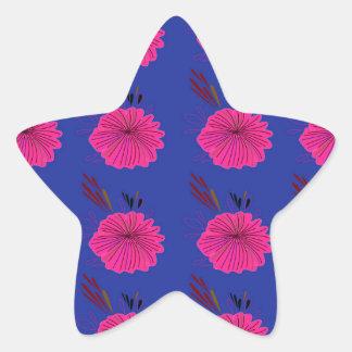 Adesivo Estrela O design floresce o rosa azul