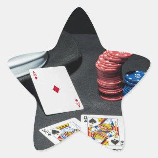 Adesivo Estrela O póquer carda o chapéu do gângster