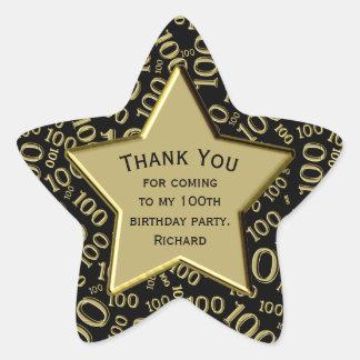 Adesivo Estrela Obrigado - 100th preto do aniversário e estrela do