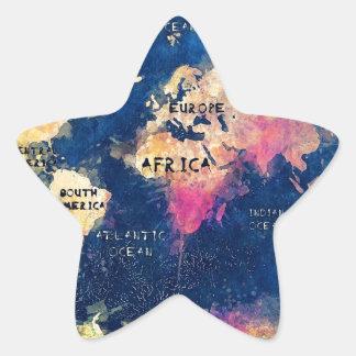 Adesivo Estrela OCEANOS e continentes do mapa do mundo