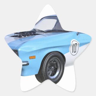 Adesivo Estrela os anos 70 azuis e carro branco do músculo