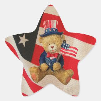 Adesivo Estrela Os EUA embandeiram o urso de ursinho patriótico