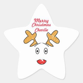 Adesivo Estrela Os trabalhos de arte simples inspiraram a rena