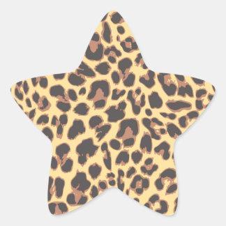 Adesivo Estrela Padrões da pele animal do impressão do leopardo