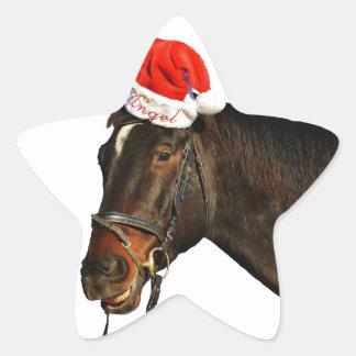 Adesivo Estrela Papai noel do cavalo - cavalo do Natal - Feliz