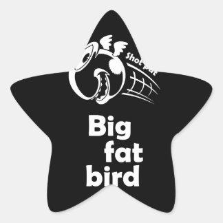 Adesivo Estrela Pássaro psto tiro gordo grande