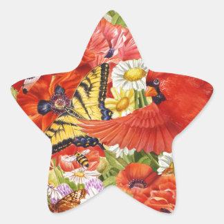 Adesivo Estrela Pássaros e borboletas 1