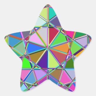 Adesivo Estrela Pedra de gema tirada Kaleidescope colorida