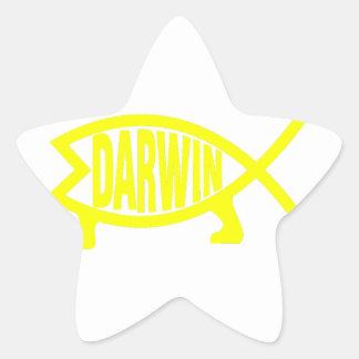 Adesivo Estrela Peixes originais de Darwin (amarelo)