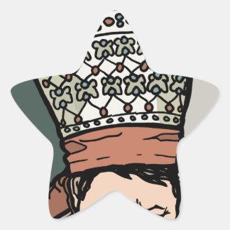 Adesivo Estrela Pensamento asiático central da mulher (no chapéu)