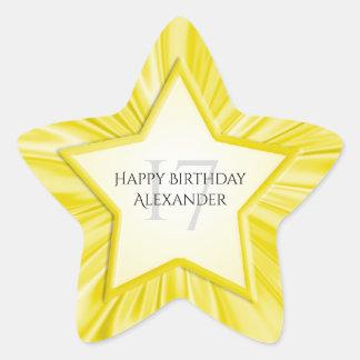 Adesivo Estrela Personalize a estrela amarela do cetim do falso do
