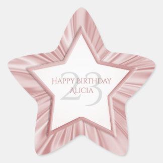 Adesivo Estrela Personalize a estrela cor-de-rosa feminino do