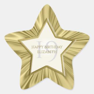 Adesivo Estrela Personalize a estrela do cetim do ouro do falso do