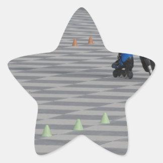 Adesivo Estrela Pés da cara em skates inline. Patinadores Inline